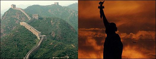 Gran Muralla China y detalle de la Estatua de la Libertad
