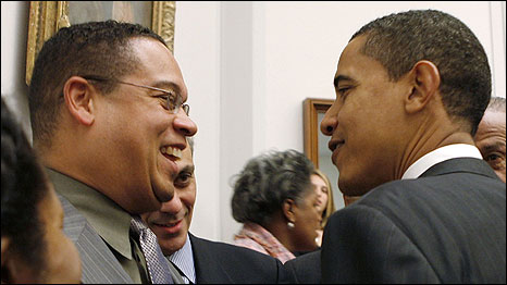 Keith Ellison (left) with Barack Obama. Photo: Mark Wilson/Getty Images