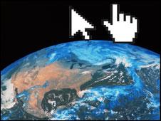 Imagen del mundo con el puntero de un mouse