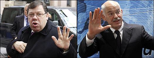 Brian Cowen, primer ministro irlandés, y su homólogo griego, Giorgios Papadreu