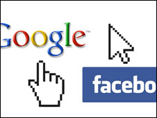 Composición de los logos de Google y Facebook