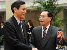 武大伟在北京会见斋木昭隆 (2008年资料图片)