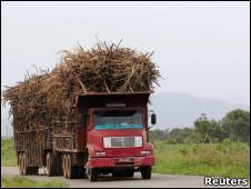 Caminhão com cana-de-açúcar no Estado do Rio