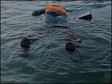 Hombre flotando en el mar