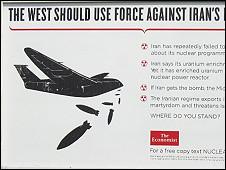 تصویر تابلوهای نصب شده در لندن درباره برنامه هسته ای ایران
