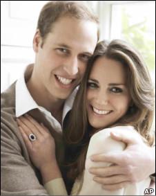 威廉王子和凱特訂婚照