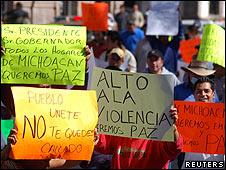 Protesta en Morelia, México