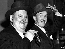 Los actores estadounidenses Stanley Laurel y Oliver Hardy