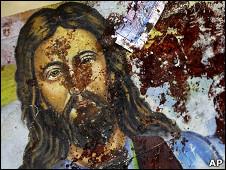 تصویر خون آلود مسیح درون کلیسا