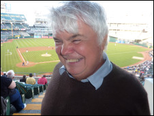 Peter White attends a baseball game in San Francisco, US, while recording Blind Man Roams the Globe