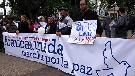 Protesta de los mapuches.
