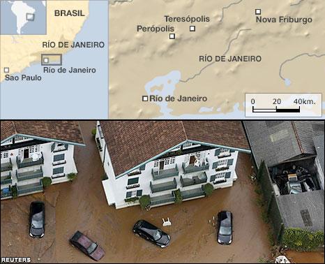 Mapa de las inundaciones en Brasil