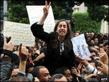 Manifestantes en Túnez