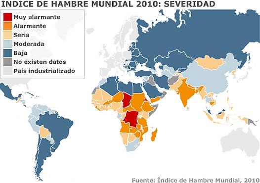 Mapa del Índice de Hambre Mundial