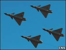 中国空军建军60周年表演上的空军军机(16/11/2009)