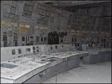 Panel de control del reactor 4 de Chernobyl