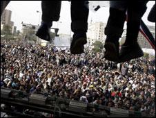 聚集在开罗解放广场的人群
