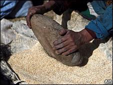 Indígena aymara moliendo quinua