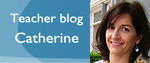 A banner with a photo of Catherine, the teacher blogger
