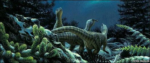Ilustración dinosaurios en el Polo Sur