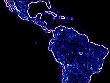 "Mapa ""digital"" de América Latina."