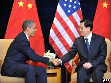 Los presidentes de EE.UU., Barack Obama, y China, Hu Jintao
