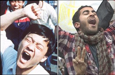 Người biểu tình ở Thiên An Môn (trái) hồi năm 1989 và ở Ai Cập mới đây (phải)