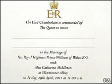 invitación para la boda real
