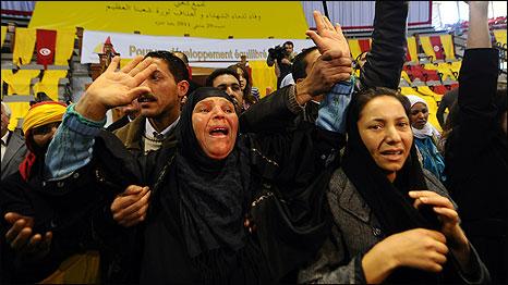 Mannoubia Bouazizi, the mother of fruit vendor Mohamed Bouazizi, 29 January 2011. Photo: Fethi Belaid/AFP/Getty Images