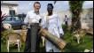 World Service Producer Leo Hornak with Ghanaian master drummer JB Koranteng Krentisl in Accra