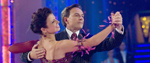 A man and woman dancing in the TV programme Strictly Come Dancing