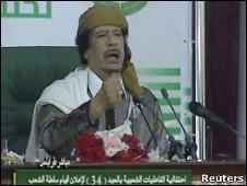 卡扎菲在的黎波里发表讲话