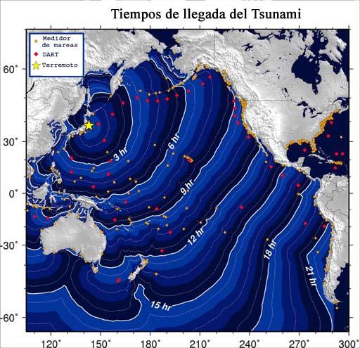 Mapa de los tiempos de viaje del tsunami