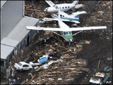 Destruição em Sendai, Japão