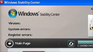 Imagen de pantalla de software de seguridad falso, Websense