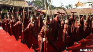 Ceremonia en templo de Confucio en Taipéi