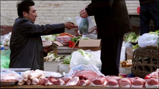北京一猪肉摊贩
