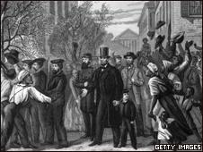 Pintura representando Abraham Lincoln após a vitória na Guerra Civil e a libertação de escravos nos EUA