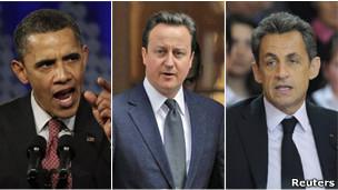 Obama, Cameron y Sarkozy