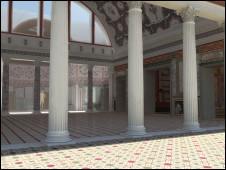 Ilustração o reproduz palácio Domus Aurea, construído por Nero, da mostra dedicada ao imperador romano, em cartaz em Roma em abril de 2011