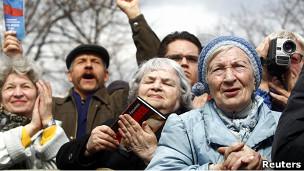 Участники одного из митингов в Москве