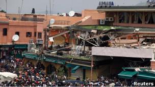 Разрушенное кафе в Марракеше