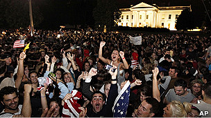 Celebración frente a la Casa Blanca