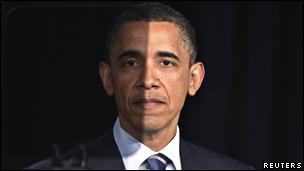 Barack Obama detrás de un teleprompter