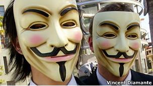 Máscaras de V de Vendetta, de Guy Fawkes