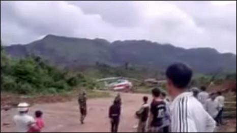 Trực thăng quân đội tới hiện trường
