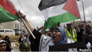 متظاهرة فلسطينية في القدس الشرقية