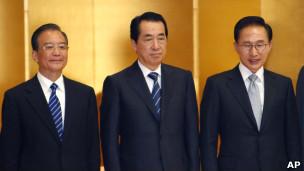 左起:温家宝、菅直人、李明博