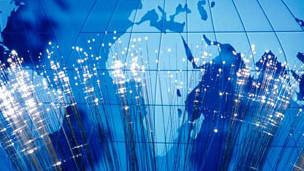 El mundo y fibra óptica