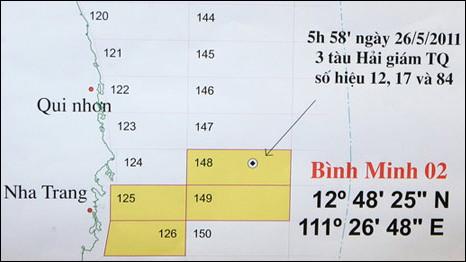 Vị trí xảy ra sự kiện liên quan tàu Bình Minh 02